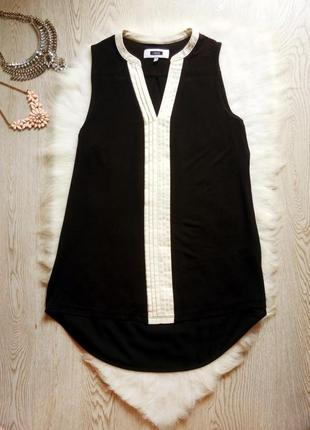 Черная длинная блуза туника майка с белым воротником шифон стр...