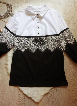 Дизайнерская белая черная рубашка блуза с гипюром ажурными вст...