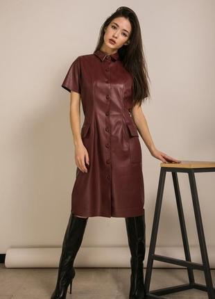 Женское платье из эко кожи, платье из кожзама