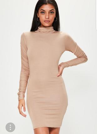 Новое бежевое платье чулок   missquided размер м(12)