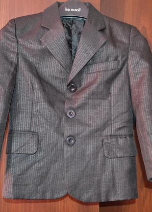 Новый пиджак на 6 лет, цвет черный р. 116 см