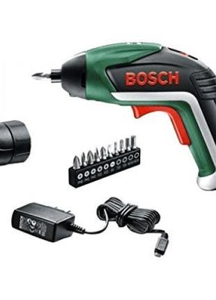 Аккумуляторный шуруповерт Bosch IXO + Угловая насадка и Биты