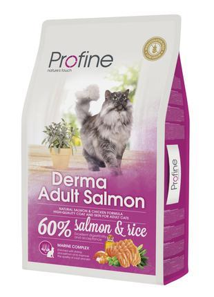 Сухой корм Profine Cat Derma для длинношерстных кошек с лососе...