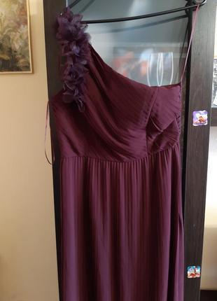 Длинное вечернее плисированное платье