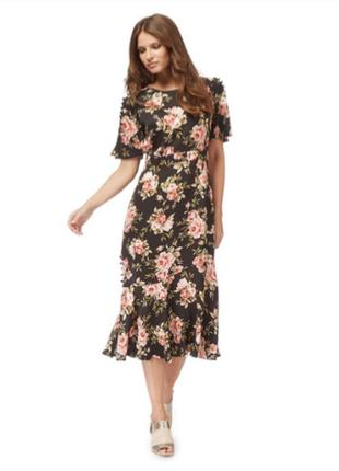 Платье миди цветочный принт большой размер вискоза
