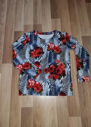 Красочная кофта свитер цветочный принт
