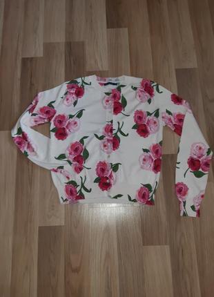 Красочная кофта свитер цветочный принт розы