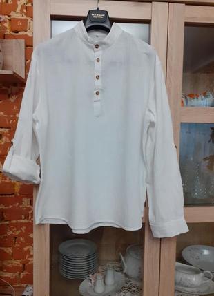 Льняная рубашка с воротником стойкой большого размера