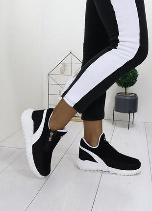 Зимние теплые ботинки,женские чёрные ботинки с молниями.