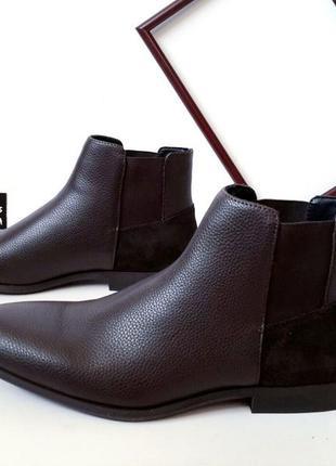Мужские кожаные ботинки кельвин кляйн (calvin klein). оригинал.