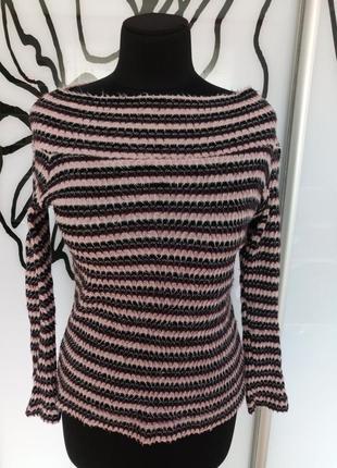 Стильный свитер джемпер в полоску с вырезом лодочкой от rita -...