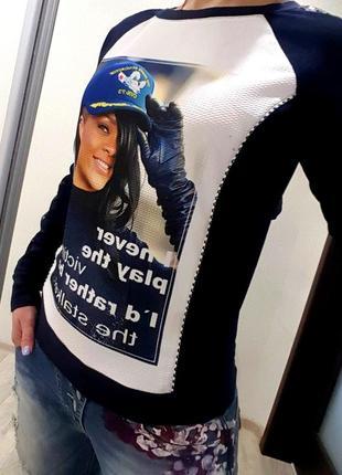 Свитшот синий крутой принт девушки модный стильный свитер кофта