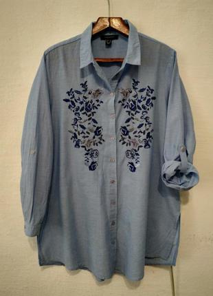 Стильная легкая натуральная рубашка с вышивкой большого размера