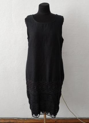 Стильное элегантное льняное платье с кружевом