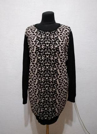 Стильный удлиненный леопардовый джемпер большого размера