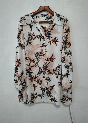 Стильная яркая удлиненная шифоновая блуза большого размера