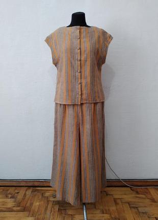 Стильный модный льняной костюм в полоску большого размера