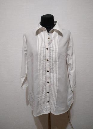Стильная белая натуральная блуза большого размера