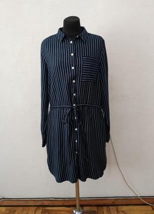 Стильная модная рубаха -платье в полоску большого размера