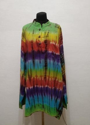 Стильная яркая льняная удлиненная блуза большого размера