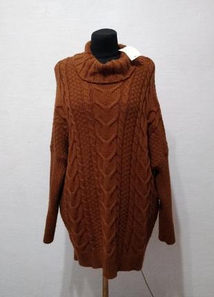 Стильный теплый свитер большого размера
