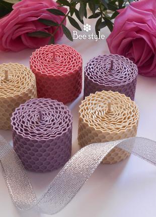 Набор 5 свечей миниатюрок из пчелиной вощины🤍💜
