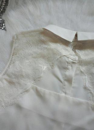 Белая двухсторонняя блуза шифон без рукава рубашка с гипюром а...