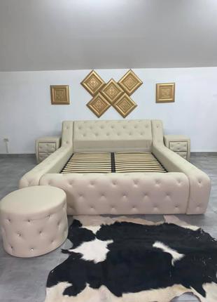 Мягкая двуспальная кровать с подъемным механизмом с кристалами