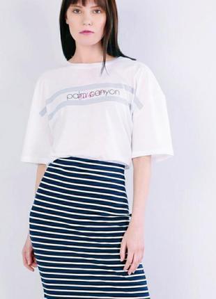 Красивая юбка-карандаш морская тематика юбка белая в синюю пол...