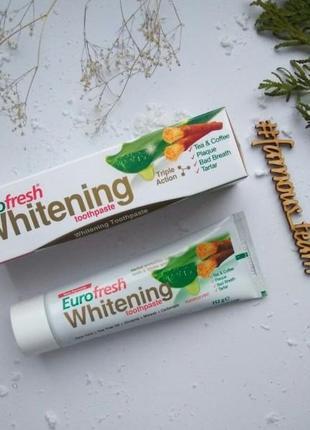 Отбеливающая паста для зубов с мисваком 112 г eurofresh whiten...