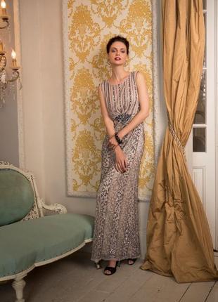 Вечернее новогоднее платье ручная работа пайетка бисер вышивка...