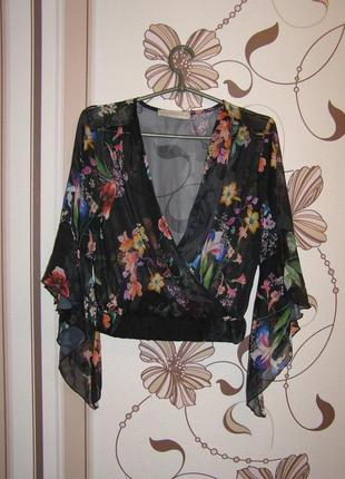 Укороченный топ, блуза с цветочным принтом rinascimento, р.м, ...