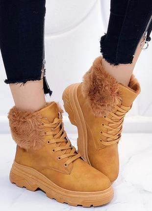 Зимние рыжие ботинки на низком ходу,зимние теплые ботинки рыже...
