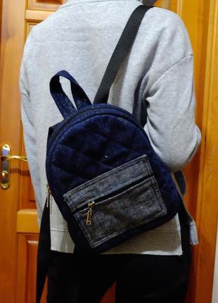 Джинсовый рюкзак 02, небольшой джинсовый рюкзак
