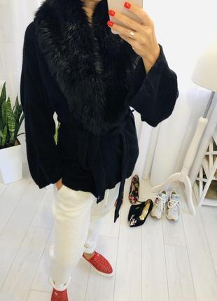 Шерстяной кардиган пальто