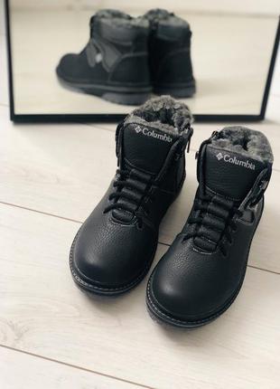 Тёплые качественные зимние кожаные сапожки ботинки