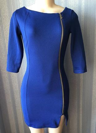 Шикарное женское синее короткое платье размер s