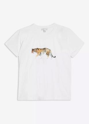Новая футболка с принтом тигра topshop 2020 🐅 белая хлопковая ...