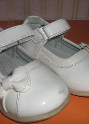 Туфли, нарядные туфельки на девочку Clibee белые, 22р. 13,5см