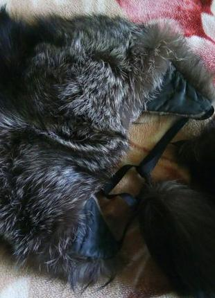 Капор Чернобурка, натуральный мех, женская зимняя шапка