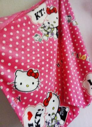 Плед флисовый детский на кровать Китти Kitty розовый в горох 1...