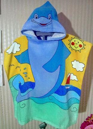 Детское пляжное полотенце Дельфин с капюшоном