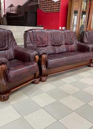 Кожаный комплект мягкой мебели кожаный диван кожаное кресло