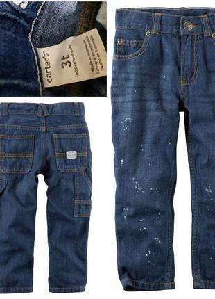 Модные джинсы с пятнами краски на 3 года