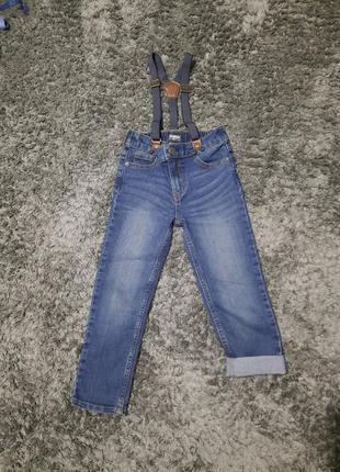 Новые широкие джинсы на подтяжках 5-6 лет