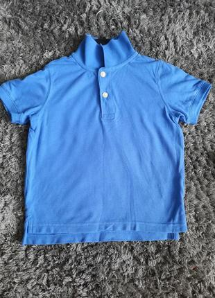 Синяя футболка поло 3-4 года