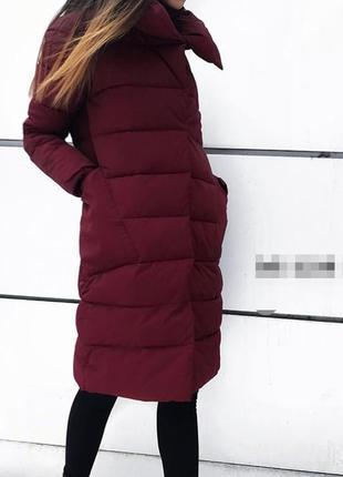 Теплое осеннее пальто на синтепоне, бордовый
