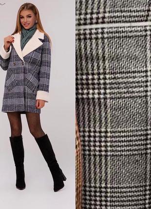Тёплое, зимнее клетчатое пальто на ватине серое