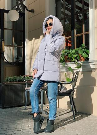Стильная зимняя куртка на силиконе, серый, розовый, беж