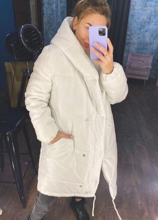 Тёплая ,зимняя оверсайз куртка на силиконе 300, белый, беж